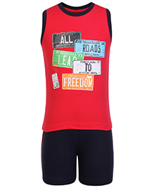 Taeko Sleeveless Roads Print T Shirt And Shorts - Red