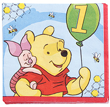 Winnie The Pooh Lunch Napkins with Winnie The Pooh Print - 16 Pieces