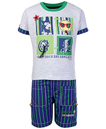Eteenz Half Sleeves T Shirt and Shorts Set - Grey and Blue