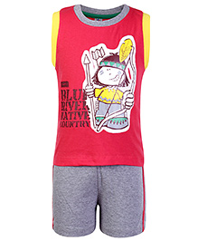 Paaple Sleeveless T Shirt And Shorts Red - Arrow Man Print