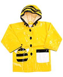 Babyhug Hooded Raincoat With Front Pocket Yellow - Honey Bee Print
