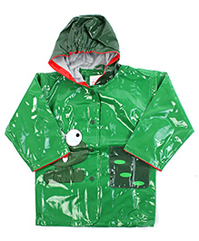 Babyhug Hooded Raincoat With Front Pocket Green - Frog Print