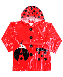Babyhug Hooded Raincoat With Front Pocket Red - Beetle Print