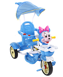 Fab N Funky Musical Tricycle with Push Handle and Canopy - Blue