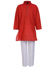 Babyhug Full Sleeves Kurta And Pajama Pin Stripes Print - Red