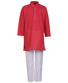 Babyhug Full Sleeves Kurta And Pajama Pin Stripes Print - Pink