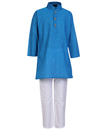 Babyhug Full Sleeves Kurta And Pajama Pin Stripes Print - Blue