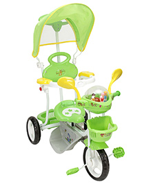 Fab N Funky Tricycle with Canopy and Push Handle - Green