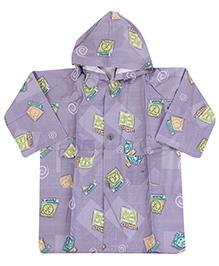 Babyhug Printed Hooded Raincoat - Light Purple