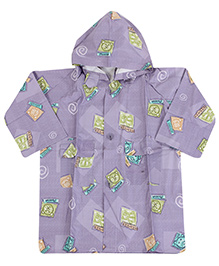 Babyhug Printed Hooded Raincoat - Light Purple