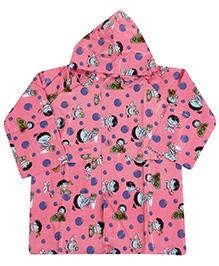 Babyhug Printed Hooded Raincoat - Light Pink