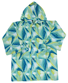 Babyhug Printed Hooded Raincoat - Blue And Green