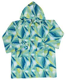 Babyhug Printed Hooded Raincoat - Blue And Green