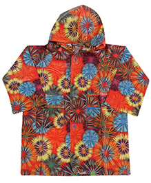 Babyhug Hooded Raincoat - Floral Print