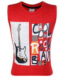 Kids Today Sleeveless T-Shirt Red - Cool Rock Print