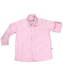 COO COO Full Sleeves Roll Up Stripes Print Shirt - Pink