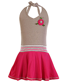 Babyhug Halter Neck Frock Pink And Brown - Flower Applique