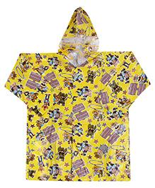 Babyhug Full Sleeves Hooded Printed Raincoat - Yellow