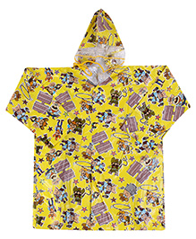 Babyhug Full Sleeves Hooded Printed Raincoat - Yellow