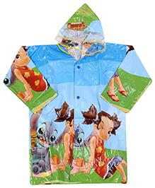 Babyhug Full Sleeves Hooded Printed Raincoat - Light Blue
