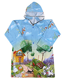 Babyhug Full Sleeves Hooded Printed Raincoat