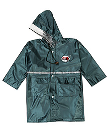 Babyhug Full Sleeves Hooded Raincoat - Dark Green