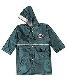 Babyhug Full Sleeves Hooded Raincoat - Dark Green