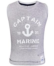 Ollypop Sleeveless T Shirt Grey - Captain Print