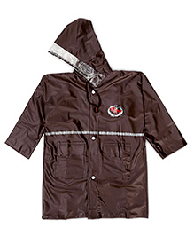 Babyhug Plain Hooded Raincoat - Brown