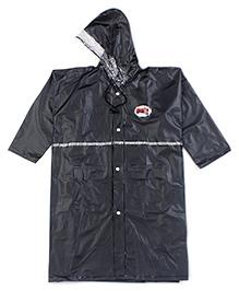 Babyhug Full Sleeves Hooded Raincoat - Black