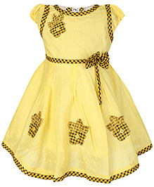 Babyhug Short Sleeves Frock Yellow - Flower Embroidery