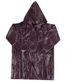 Babyhug Full Sleeves Hooded Raincoat - Dark Maroon