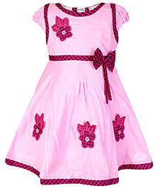 Babyhug Short Sleeves Frock Pink - Flower Embroidery
