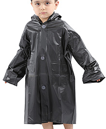 Babyhug Full Sleeves Hooded Raincoat - Black