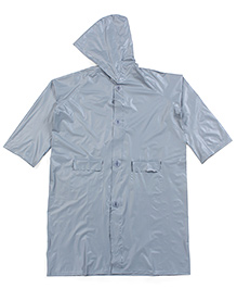 Babyhug Full Sleeves Hooded Raincoat - Silver