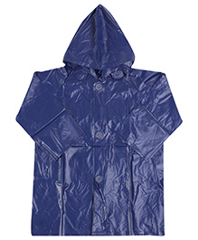 Babyhug Full Sleeves Hooded Raincoat - Blue