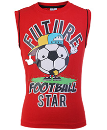 Ollypop Sleeveless T Shirt Red - Future Football Star