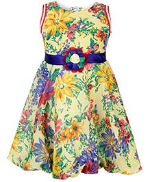 Babyhug Sleeveless Frock With Waist Applique Flower Print - Yellow