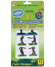 Runbugz Anti Mosquito Patches Cricket Design - 12 Patches