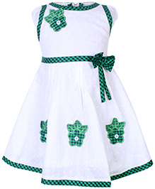 Babyhug Short Sleeves Frock With Floral Patches - Green and White