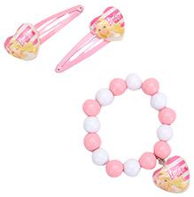 Barbie Combo Set Pink - 2 Snap Clips And 1 Bracelet