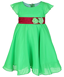 Softouch Cap Sleeves Frock With Contrast Colour Waist Band - Neon Green