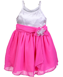 Softouch Singlet Party Frock With Flower Applique - Pink And White
