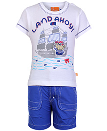 Little Kangaroos Half Sleeves T Shirt And Shorts Blue And White - Pirate Ship Print