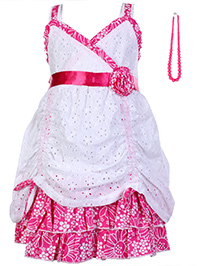 Little Kangaroos Singlet Party Wear Frock with Bead Necklace - Pink and White