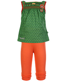 Little Kangaroos Sleeveless Top With Leggings - Green And Orange - Size 3 Months