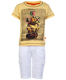 Little Kangaroos Half Sleeves T Shirt and Short with Ship Print - Yellow and  White