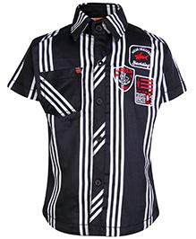 Little Kangaroos Half Sleeves Shirt with Stripe Print - Black and White