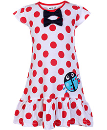 Doreme Short Sleeves Frock Polka Dot Print With Bow - Red