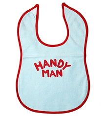 Buzzy Cotton Baby Bib Handy Man Print - Light Blue